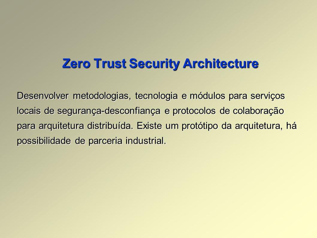 Zero Trust Security Architecture Desenvolver metodologias, tecnologia e módulos para serviços locais de segurança-desconfiança e protocolos de colaboração para arquitetura distribuída.