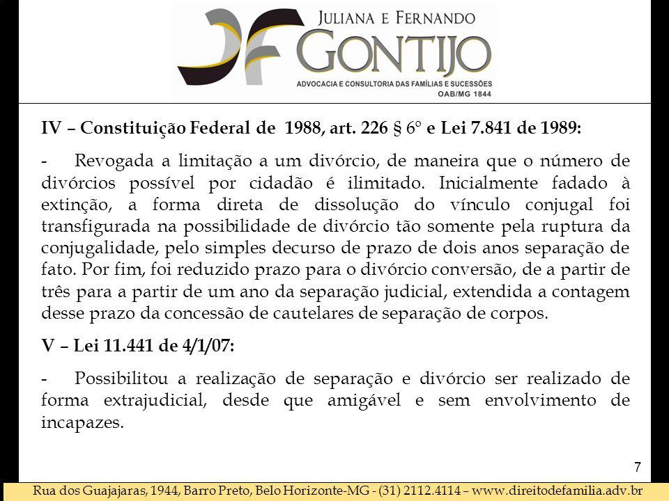 Rua dos Guajajaras, 1944, Barro Preto, Belo Horizonte-MG - (31) 2112.4114 – www.direitodefamilia.adv.br DE DISSOLUÇÃO DO VÍNCULO CONJUGAL APÓS EC 66 : I.