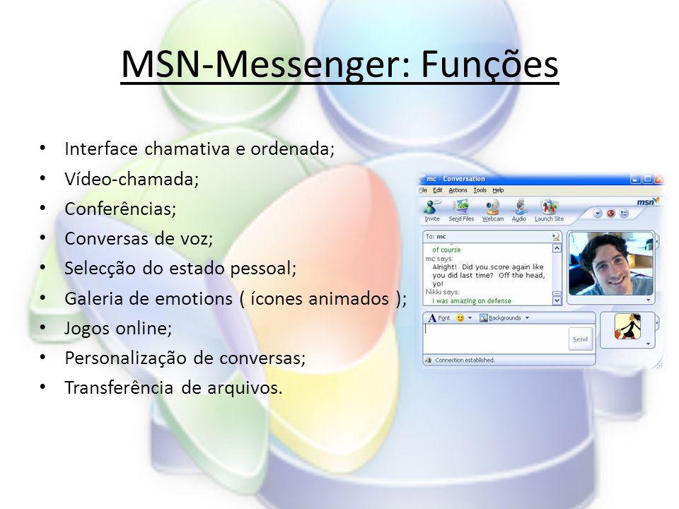 MSN-Messenger: Funções • Interface chamativa e ordenada; • Vídeo-chamada; • Conferências; • Conversas de voz; • Selecção do estado pessoal; • Galeria de emotions ( ícones animados ); • Jogos online; • Personalização de conversas; • Transferência de arquivos.