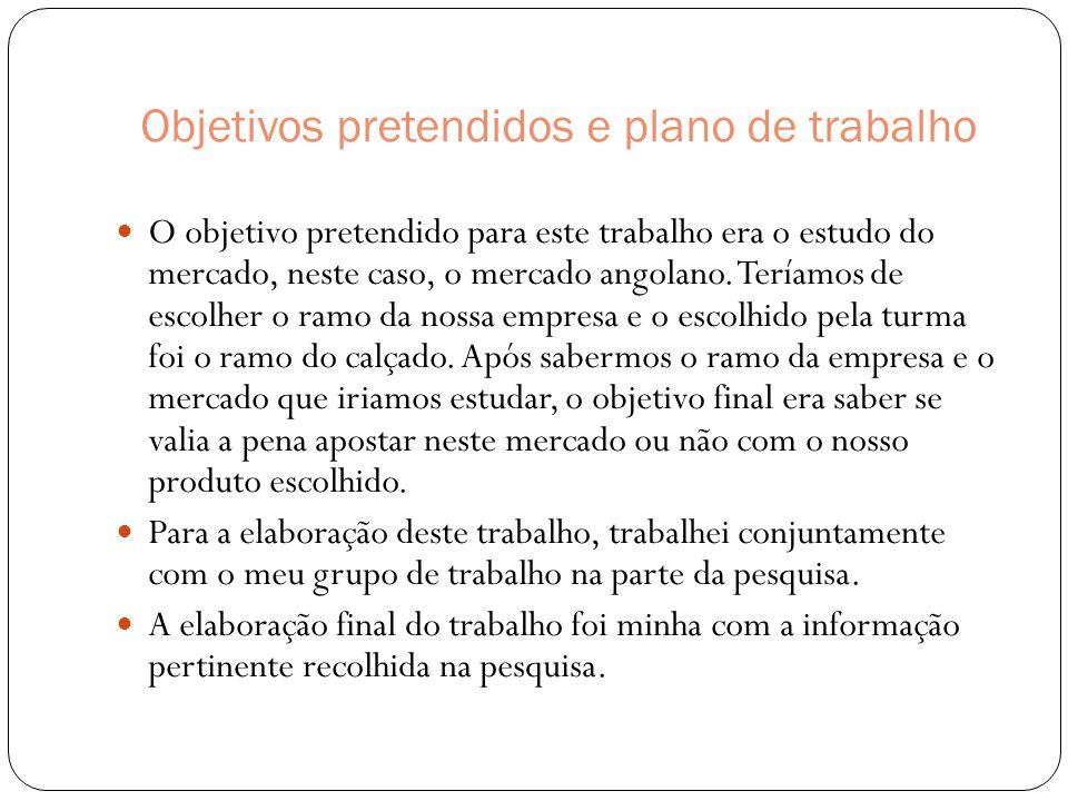 Objetivos pretendidos e plano de trabalho  O objetivo pretendido para este trabalho era o estudo do mercado, neste caso, o mercado angolano.