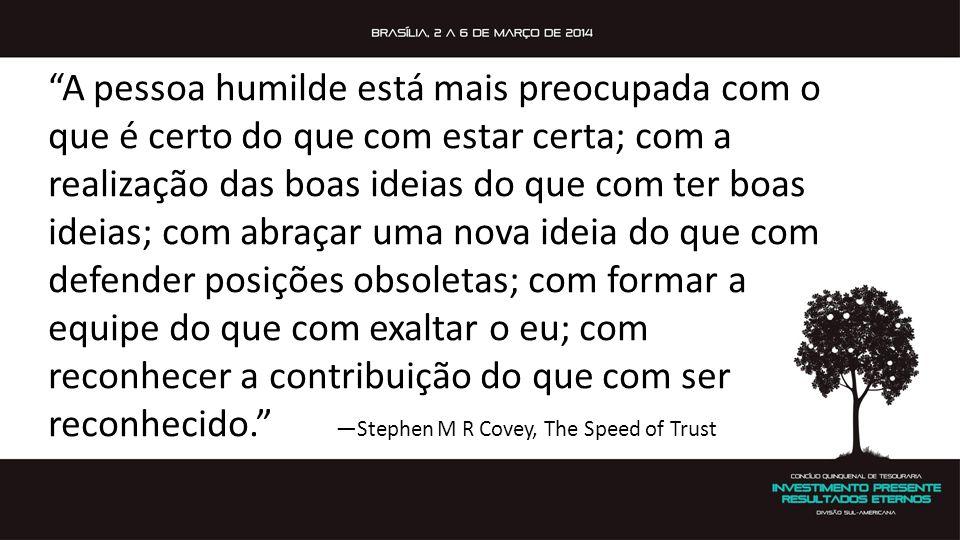 """""""A pessoa humilde está mais preocupada com o que é certo do que com estar certa; com a realização das boas ideias do que com ter boas ideias; com abra"""
