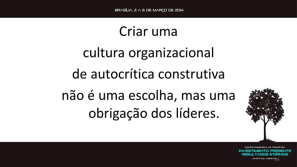 Criar uma cultura organizacional de autocrítica construtiva não é uma escolha, mas uma obrigação dos líderes. 34