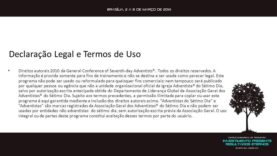 Declaração Legal e Termos de Uso • Direitos autorais 2010 da General Conference of Seventh-day Adventists®. Todos os direitos reservados. A informação