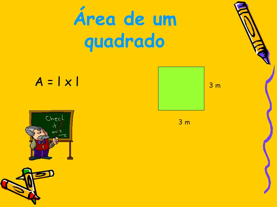 Área de um quadrado A = 3 x 3 A = 9 m 2 3 m