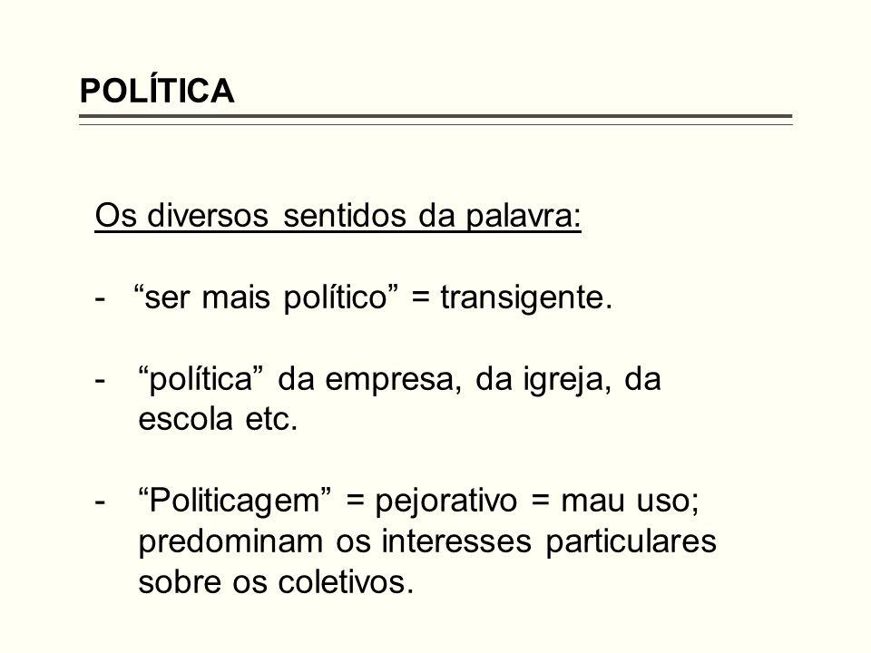 POLÍTICA Os diversos sentidos da palavra: - ser mais político = transigente.
