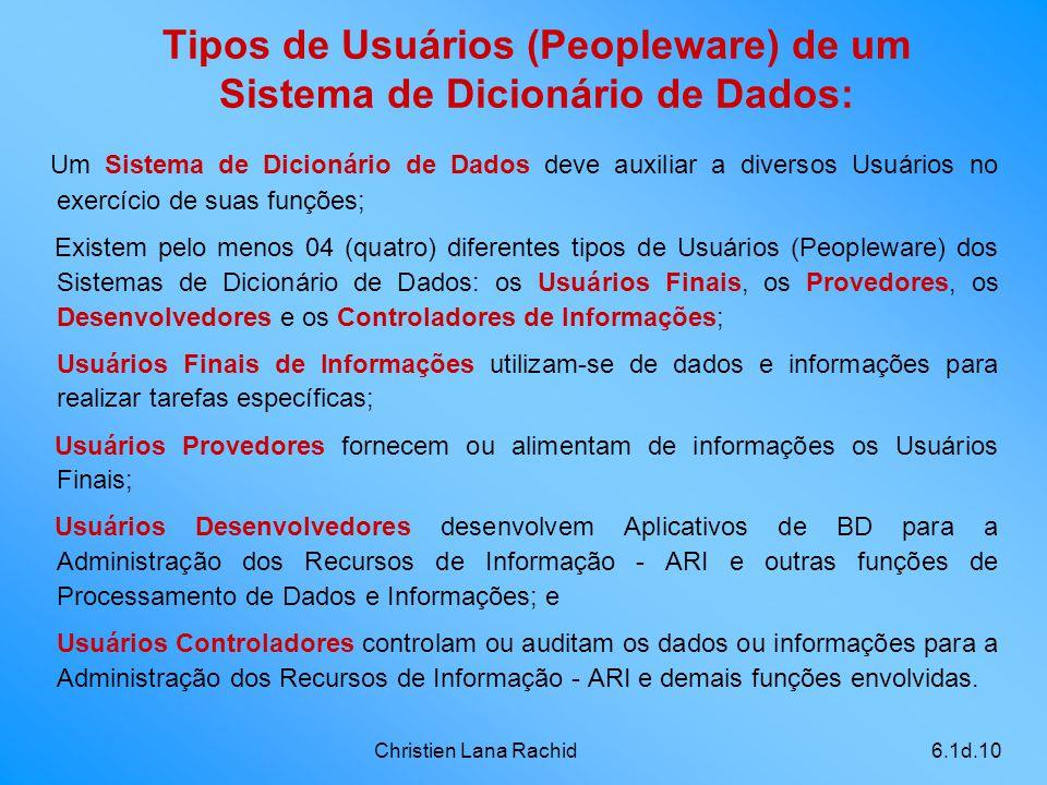 Christien Lana Rachid6.1d.10 Tipos de Usuários (Peopleware) de um Sistema de Dicionário de Dados: Um Sistema de Dicionário de Dados deve auxiliar a di