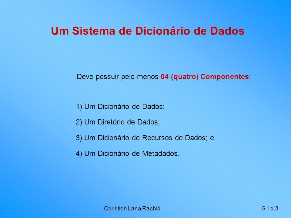 Christien Lana Rachid6.1d.3 Um Sistema de Dicionário de Dados 1) Um Dicionário de Dados; 2) Um Diretório de Dados; 3) Um Dicionário de Recursos de Dad