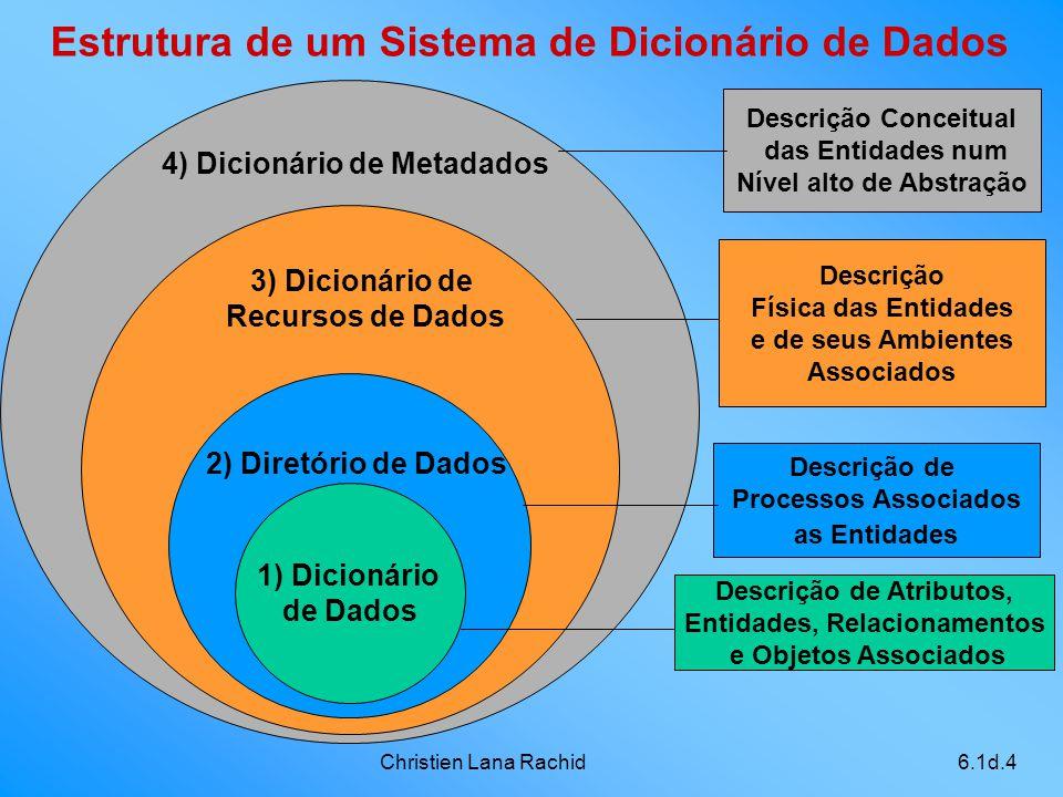 Christien Lana Rachid6.1d.4 Descrição Conceitual das Entidades num Nível alto de Abstração 4) Dicionário de Metadados 3) Dicionário de Recursos de Dad