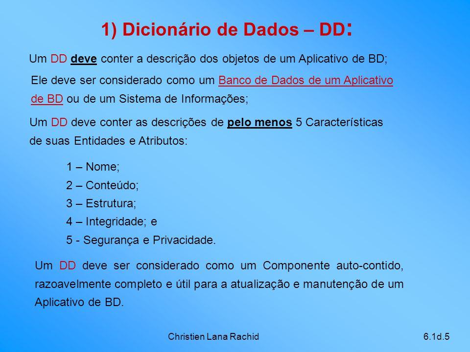Christien Lana Rachid6.1d.5 1) Dicionário de Dados – DD : Um DD deve conter a descrição dos objetos de um Aplicativo de BD; Um DD deve conter as descr