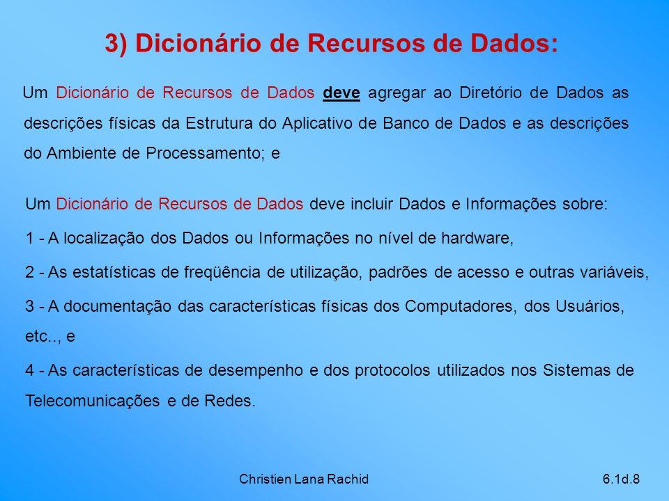 Christien Lana Rachid6.1d.8 Um Dicionário de Recursos de Dados deve agregar ao Diretório de Dados as descrições físicas da Estrutura do Aplicativo de