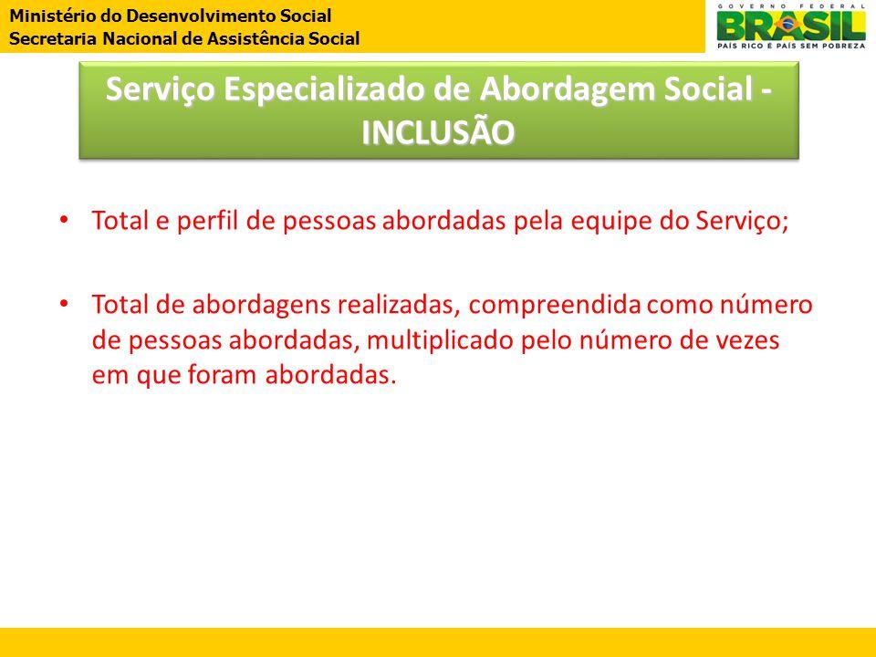 Ministério do Desenvolvimento Social Secretaria Nacional de Assistência Social Serviço Especializado de Abordagem Social - INCLUSÃO • Total e perfil d
