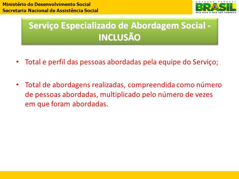 Ministério do Desenvolvimento Social Secretaria Nacional de Assistência Social • Total e perfil das pessoas abordadas pela equipe do Serviço; • Total