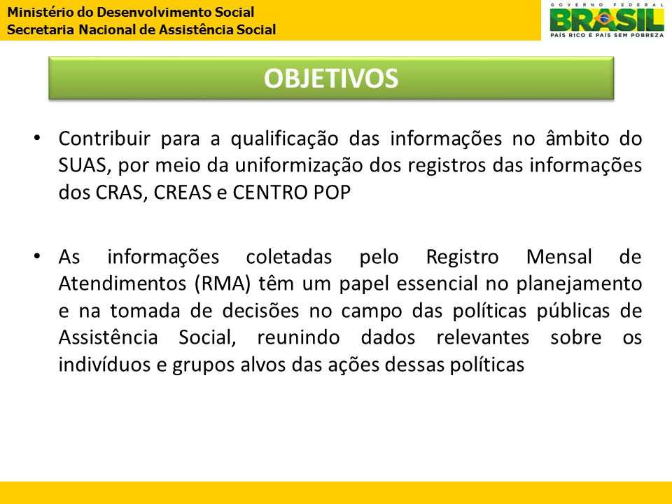 Ministério do Desenvolvimento Social Secretaria Nacional de Assistência Social Ministério do Desenvolvimento Social Secretaria Nacional de Assistência