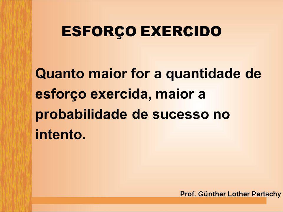 Quanto maior for a quantidade de esforço exercida, maior a probabilidade de sucesso no intento. ESFORÇO EXERCIDO Prof. Günther Lother Pertschy