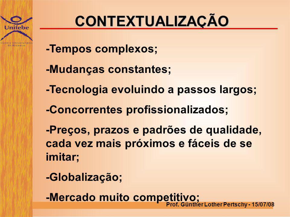 CONTEXTUALIZAÇÃO -Tempos complexos; -Mudanças constantes; -Tecnologia evoluindo a passos largos; -Concorrentes profissionalizados; -Preços, prazos e p