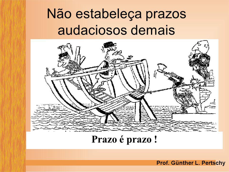 Não estabeleça prazos audaciosos demais Prazo é prazo ! Prof. Günther L. Pertschy