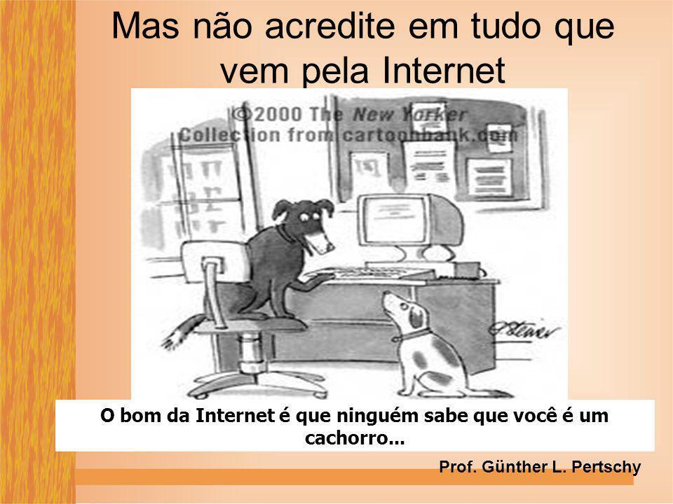 Mas não acredite em tudo que vem pela Internet O bom da Internet é que ninguém sabe que você é um cachorro... Prof. Günther L. Pertschy