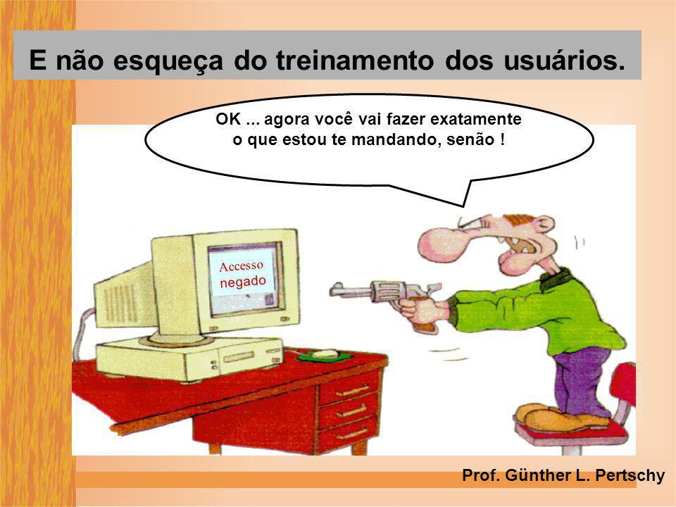 Accesso negado OK... agora você vai fazer exatamente o que estou te mandando, senão ! E não esqueça do treinamento dos usuários. Prof. Günther L. Pert