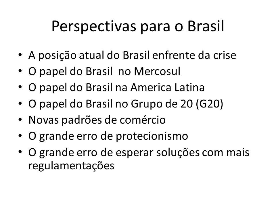 Perspectivas para o Brasil • A posição atual do Brasil enfrente da crise • O papel do Brasil no Mercosul • O papel do Brasil na America Latina • O pap