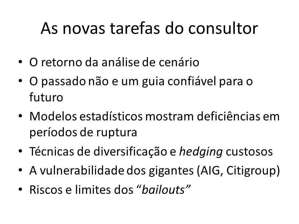 As novas tarefas do consultor • O retorno da análise de cenário • O passado não e um guia confiável para o futuro • Modelos estadísticos mostram defic