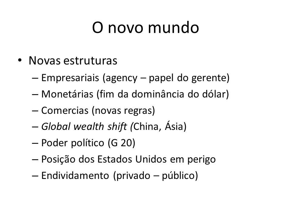 O novo mundo • Novas estruturas – Empresariais (agency – papel do gerente) – Monetárias (fim da dominância do dólar) – Comercias (novas regras) – Glob