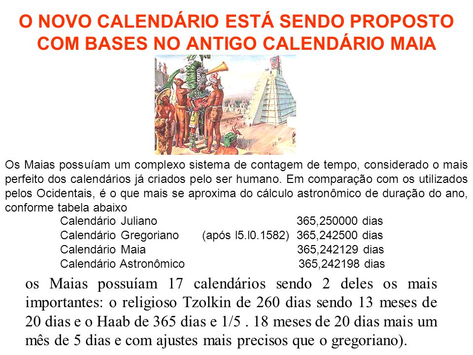 O NOVO CALENDÁRIO ESTÁ SENDO PROPOSTO COM BASES NO ANTIGO CALENDÁRIO MAIA Os Maias possuíam um complexo sistema de contagem de tempo, considerado o ma