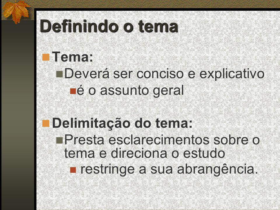 Definindo o tema  Tema:  Deverá ser conciso e explicativo  é o assunto geral  Delimitação do tema:  Presta esclarecimentos sobre o tema e direciona o estudo  restringe a sua abrangência.