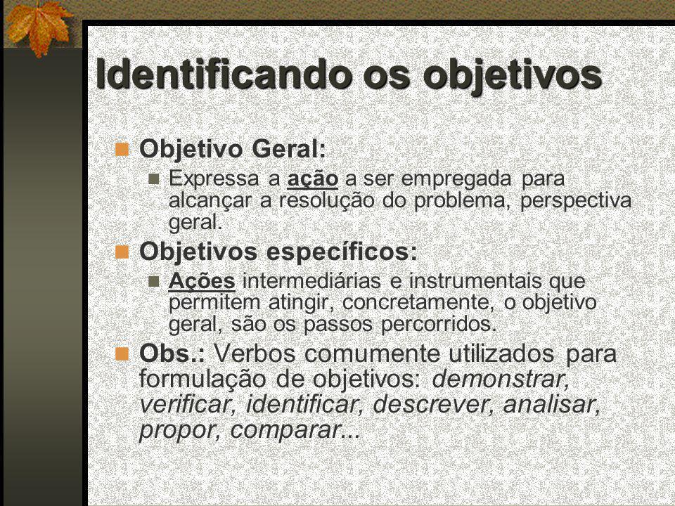 Identificando os objetivos  Objetivo Geral:  Expressa a ação a ser empregada para alcançar a resolução do problema, perspectiva geral.