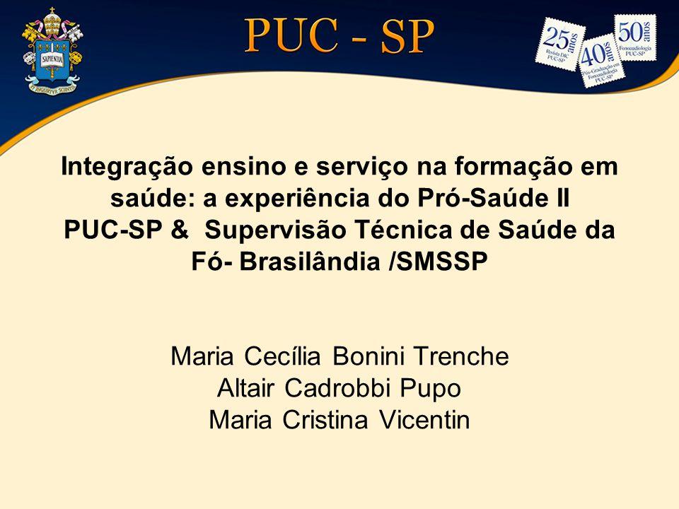 Integração ensino e serviço na formação em saúde: a experiência do Pró-Saúde II PUC-SP & Supervisão Técnica de Saúde da Fó- Brasilândia /SMSSP Maria C