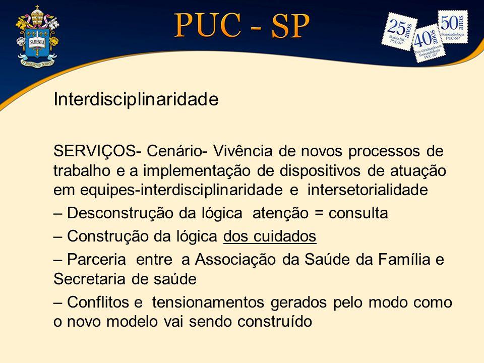 Interdisciplinaridade SERVIÇOS- Cenário- Vivência de novos processos de trabalho e a implementação de dispositivos de atuação em equipes-interdiscipli