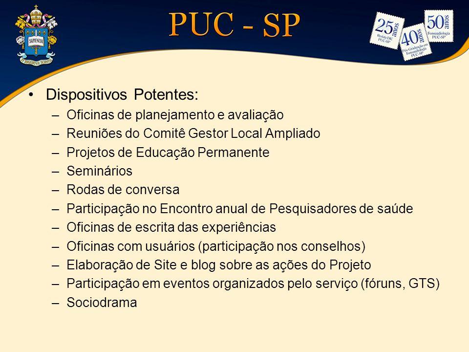 •Dispositivos Potentes: –Oficinas de planejamento e avaliação –Reuniões do Comitê Gestor Local Ampliado –Projetos de Educação Permanente –Seminários –