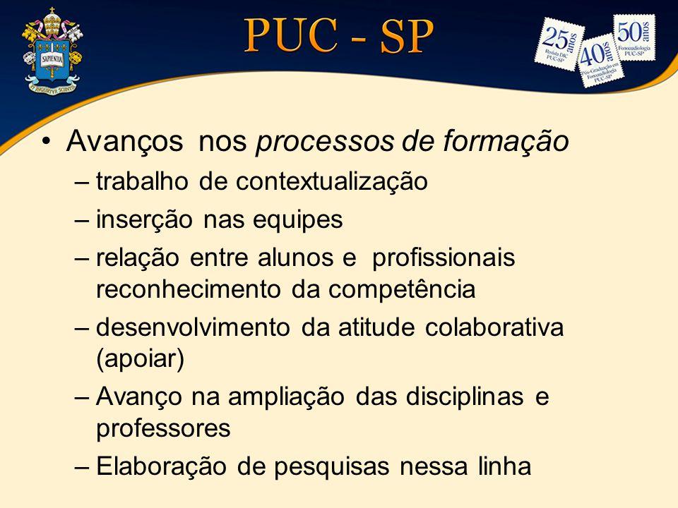 •Avanços nos processos de formação –trabalho de contextualização –inserção nas equipes –relação entre alunos e profissionais reconhecimento da competê
