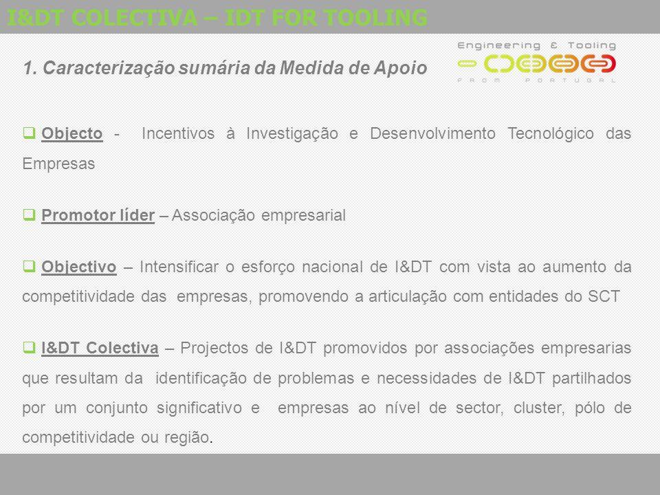 I&DT COLECTIVA – IDT FOR TOOLING 1. Caracterização sumária da Medida de Apoio  Objecto - Incentivos à Investigação e Desenvolvimento Tecnológico das