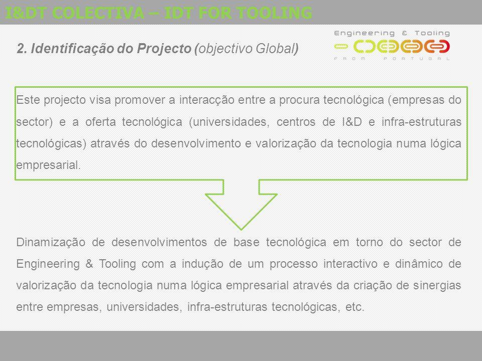 I&DT COLECTIVA – IDT FOR TOOLING 2. Identificação do Projecto (objectivo Global) Este projecto visa promover a interacção entre a procura tecnológica