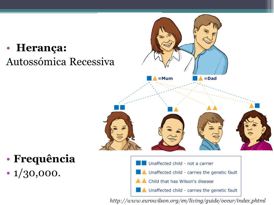 • Herança: Autossómica Recessiva •Frequência •1/30,000. http://www.eurowilson.org/en/living/guide/occur/index.phtml