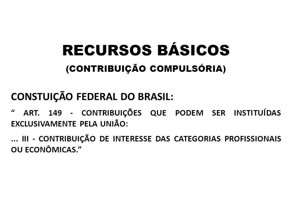 """RECURSOS BÁSICOS (CONTRIBUIÇÃO COMPULSÓRIA) CONSTUIÇÃO FEDERAL DO BRASIL: """" ART. 149 - CONTRIBUIÇÕES QUE PODEM SER INSTITUÍDAS EXCLUSIVAMENTE PELA UNI"""