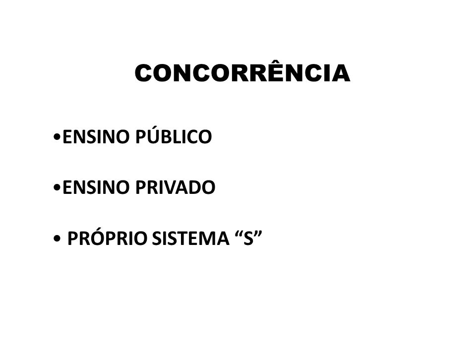 "CONCORRÊNCIA •ENSINO PÚBLICO •ENSINO PRIVADO • PRÓPRIO SISTEMA ""S"""
