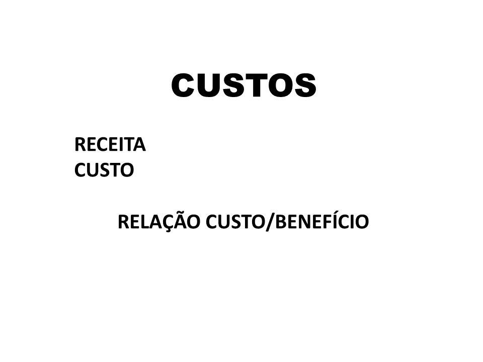CUSTOS RECEITA CUSTO RELAÇÃO CUSTO/BENEFÍCIO