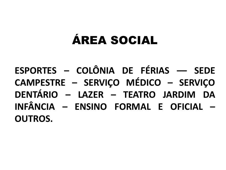 ÁREA SOCIAL ESPORTES – COLÔNIA DE FÉRIAS –– SEDE CAMPESTRE – SERVIÇO MÉDICO – SERVIÇO DENTÁRIO – LAZER – TEATRO JARDIM DA INFÂNCIA – ENSINO FORMAL E O