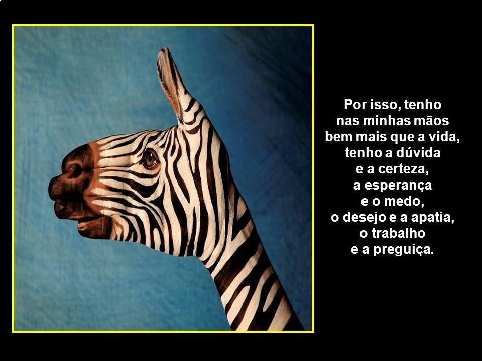 adao-las@ig.com.br Por isso, tenho nas minhas mãos bem mais que a vida, tenho a dúvida e a certeza, a esperança e o medo, o desejo e a apatia, o traba