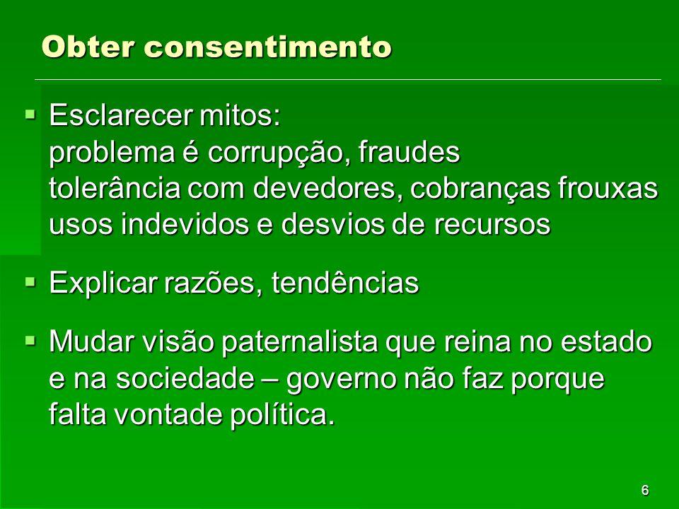 6 Obter consentimento  Esclarecer mitos: problema é corrupção, fraudes tolerância com devedores, cobranças frouxas usos indevidos e desvios de recurs