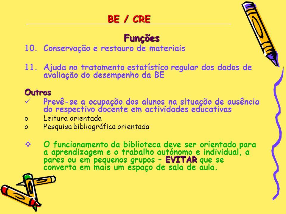 BE / CRE Funções 10.Conservação e restauro de materiais 11.Ajuda no tratamento estatístico regular dos dados de avaliação do desempenho da BEOutros 