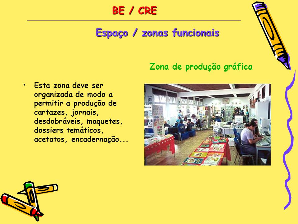 BE / CRE •Esta zona deve ser organizada de modo a permitir a produção de cartazes, jornais, desdobráveis, maquetes, dossiers temáticos, acetatos, encadernação...