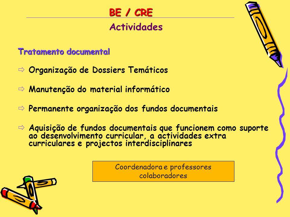 BE / CRE Tratamento documental  Organização de Dossiers Temáticos  Manutenção do material informático  Permanente organização dos fundos documentai
