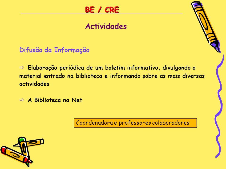BE / CRE Difusão da Informação  Elaboração periódica de um boletim informativo, divulgando o material entrado na biblioteca e informando sobre as mai