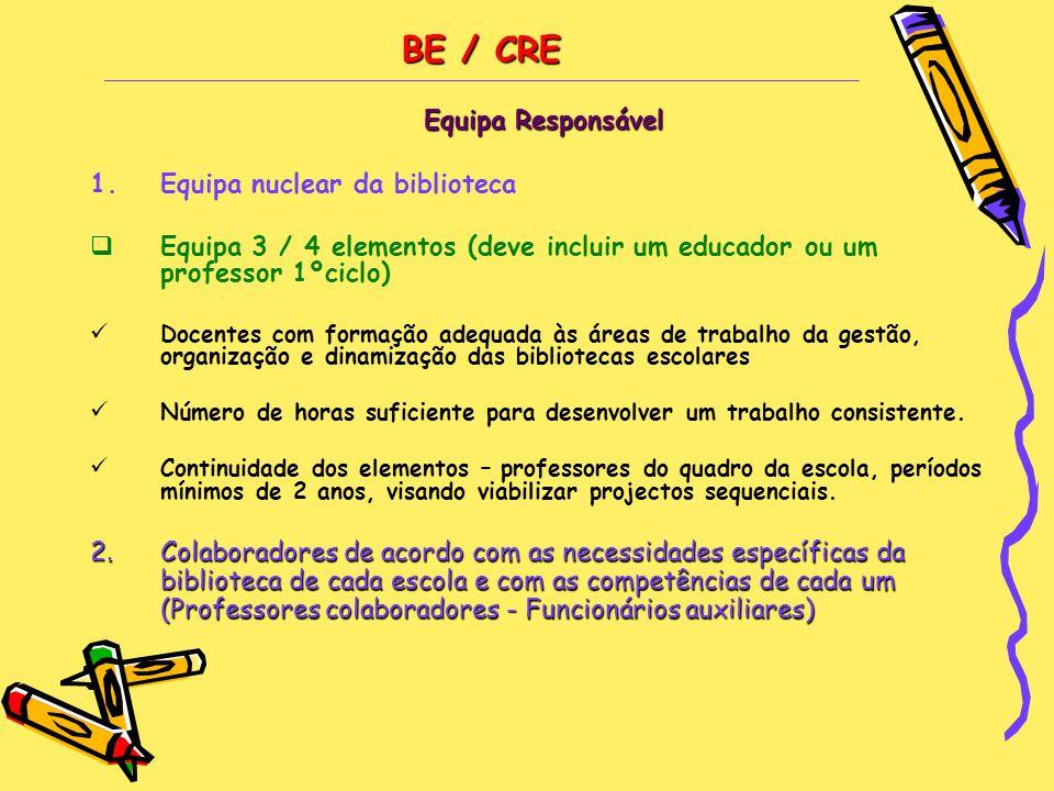 BE / CRE BE / CRE Equipa Responsável 1.Equipa nuclear da biblioteca  Equipa 3 / 4 elementos (deve incluir um educador ou um professor 1ºciclo)  Doce
