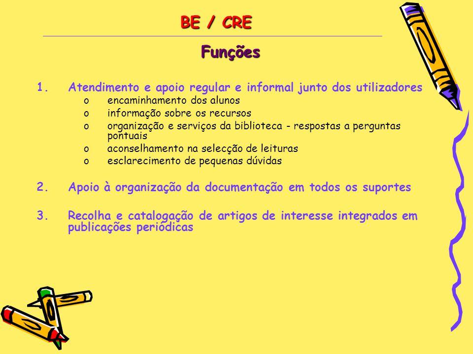 BE / CRE BE / CREFunções 1.Atendimento e apoio regular e informal junto dos utilizadores oencaminhamento dos alunos oinformação sobre os recursos oorg