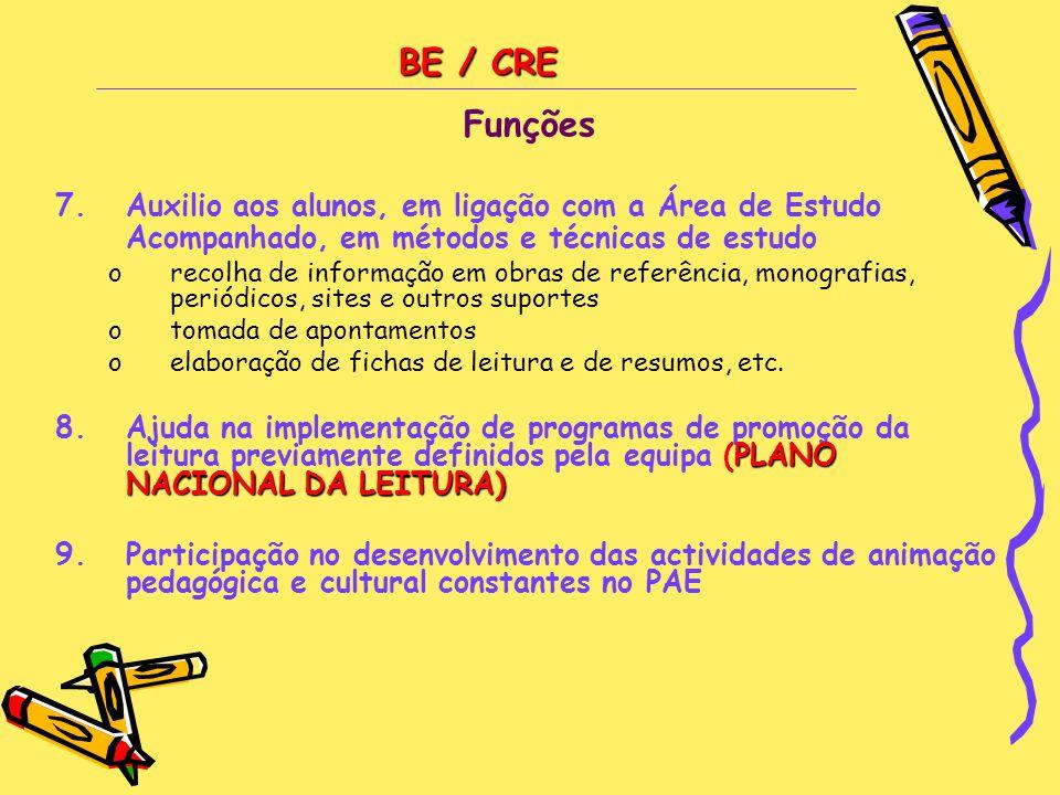 BE / CRE Funções 7.Auxilio aos alunos, em ligação com a Área de Estudo Acompanhado, em métodos e técnicas de estudo orecolha de informação em obras de