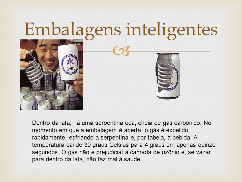  Embalagens inteligentes Dentro da lata, há uma serpentina oca, cheia de gás carbônico.
