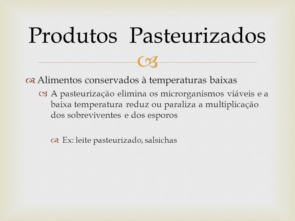   Alimentos conservados à temperaturas baixas  A pasteurização elimina os microrganismos viáveis e a baixa temperatura reduz ou paraliza a multiplicação dos sobreviventes e dos esporos  Ex: leite pasteurizado, salsichas Produtos Pasteurizados